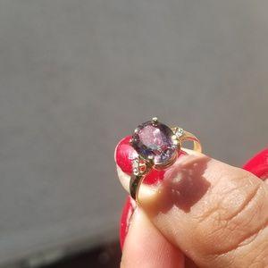 VINTAGE 10K  MYSTIC TOPAZ DIAMOND  RING SIZE 6.5